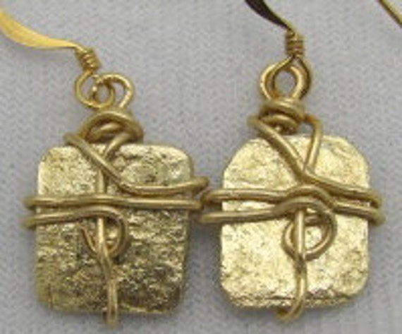 Brass  Earrings - Brass Cymbol Earrings, Recycled Earrings. ONSALE.