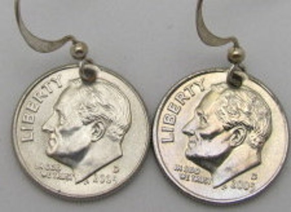 Lucky Dime Earrings, 2005, inscribed (In god we trust).