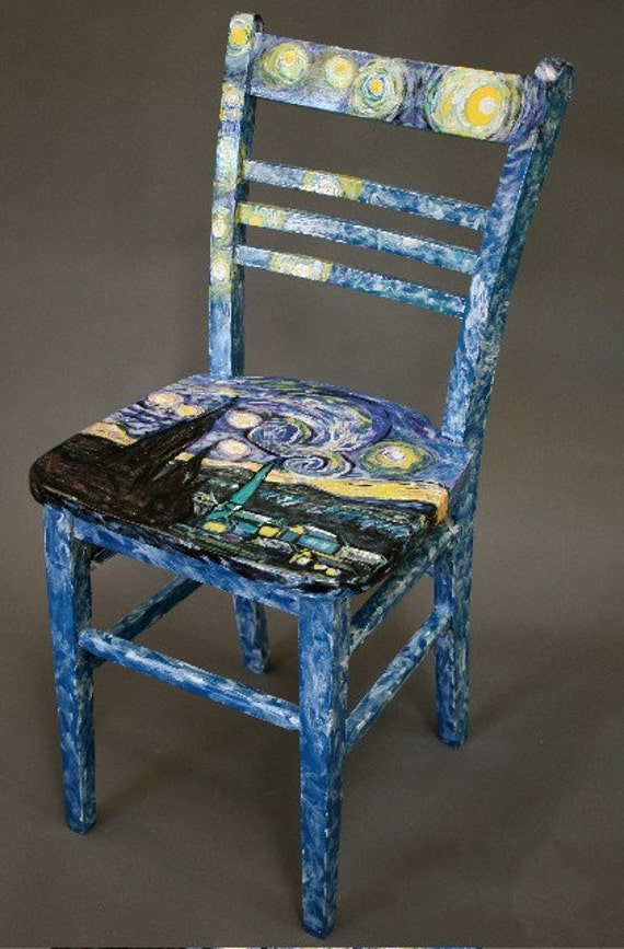 Hand painted wooden kitchen chair starlight by jayne bruck for Painted kitchen chairs