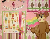 Ice Cream Girl - Two 12 x 12 Sewn Premade Scrapbook Pages - DARLENE