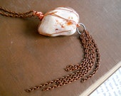 Antiqued copper and wire wrapped stone necklace