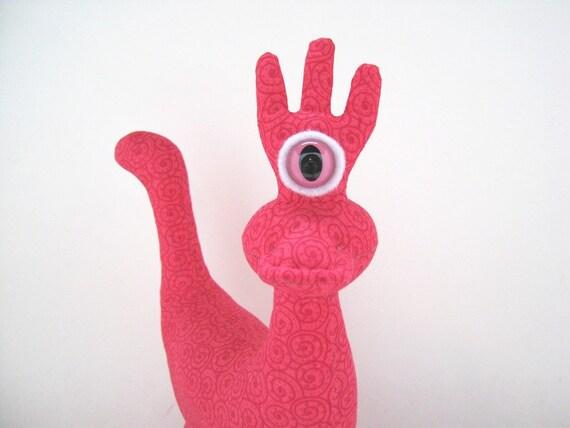 Cute Monster Plush, OOAK Stuffed Alien Dragon Dinosaur Creature by Adopt an Alien named Starlena