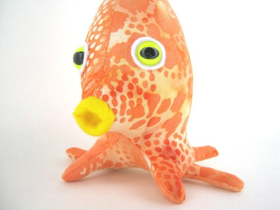 Sea Creature, Stuffed Monster Fish Alien Plush named Adopt an Alien named Squidy