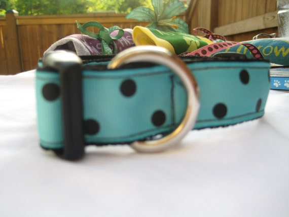 Blue and Black Polka Dotted Dog Collar