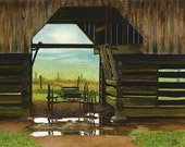 Barn Smoky Mountains watercolor painting print by Cathy Hillegas, 12x16, landscape, Cades Cove, buggy, brown, purple, green, blue