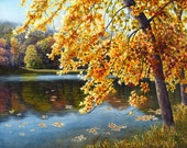 Autumn lake, watercolor landscape painting print by Cathy Hillegas, 8x10, autumn trees, autumn reflections, yellow art, autumn colors
