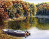Autumn Lake Fishing Boat watercolor painting print by Cathy Hillegas, 8x10,, watercolor print, landscape art, red green yellow orange blue