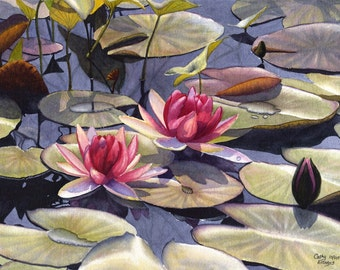 Water Lily art watercolor painting print by Cathy Hillegas, 8x10, watercolor print, pink flowers, pink art, red, green, blue, purple, yellow