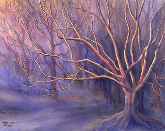 Mystical Tree art watercolor painting print by Cathy Hillegas, 16x21, Reaching For The Light, blue gold purple, spritual, fantasy, woodland