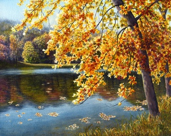 Fall lake, watercolor landscape painting print by Cathy Hillegas,16x22, October Reflections, yellow, orange, red, green blue