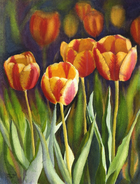 Yellow Red Tulips Art Watercolor Painting Print from original