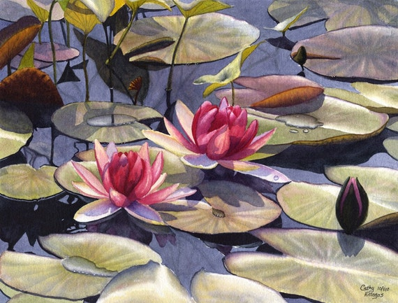 Water Lily Art Watercolor Painting Print by Cathy Hillegas,12x16, watercolor flowers, watercolor print,  red, pink, green, yellow, blue