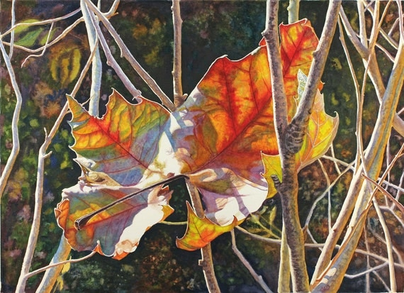Autumn Leaves Art Watercolor Print of an original Painting by Cathy HIllegas, watercolor print, 8x10, watercolor leaves, red, yellow, green