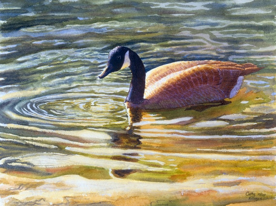 Canada Goose art watercolor painting print from an original painting by Cathy Hillegas, watercolor print, watercolor birds, lake painting