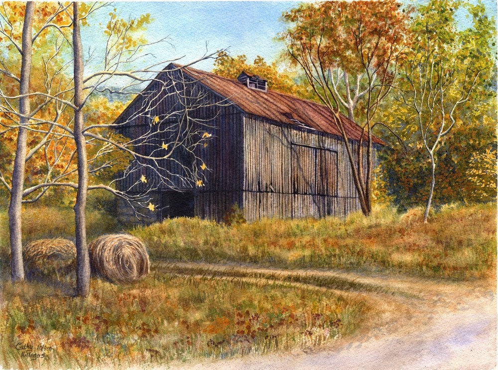 Barn landscape painting print watercolor by cathy hillegas for Watercolor barn paintings