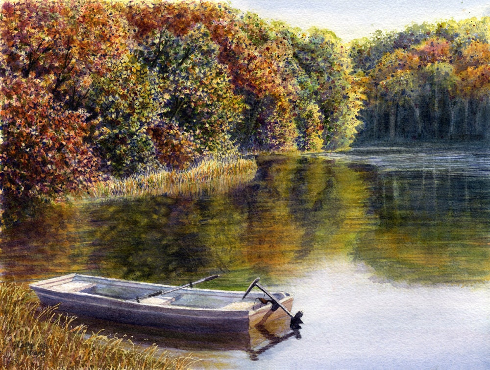 Autumn lake fishing boat watercolor painting print by cathy for Fishing boat painting