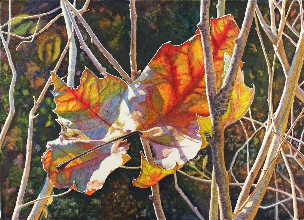 Autumn leaves art watercolor print of an original painting by