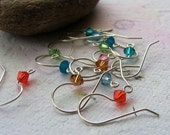 4 pair Sterling Silver Ear Wires with Swarovski Crystals - you pick colors