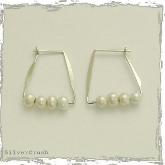 Sterling silver earrings, geometric earrings, hoop earrings, white pearl earrings, June birthstone earrings, casual earrings - Sublime E2110