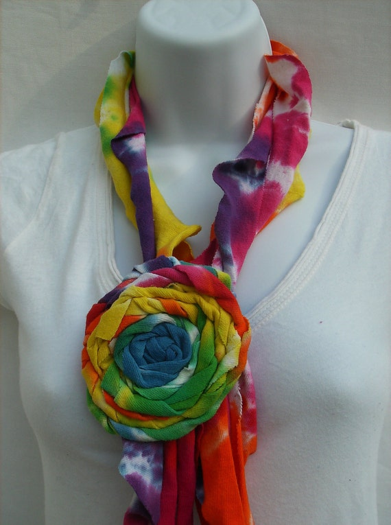 Summer Scarf - Upcycled Tye Dye (with rosette)