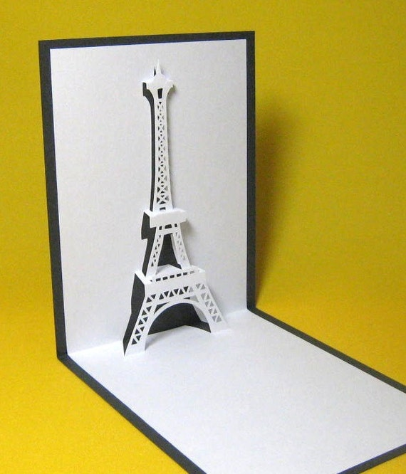 items similar to eiffel tower in paris pop up card on etsy. Black Bedroom Furniture Sets. Home Design Ideas