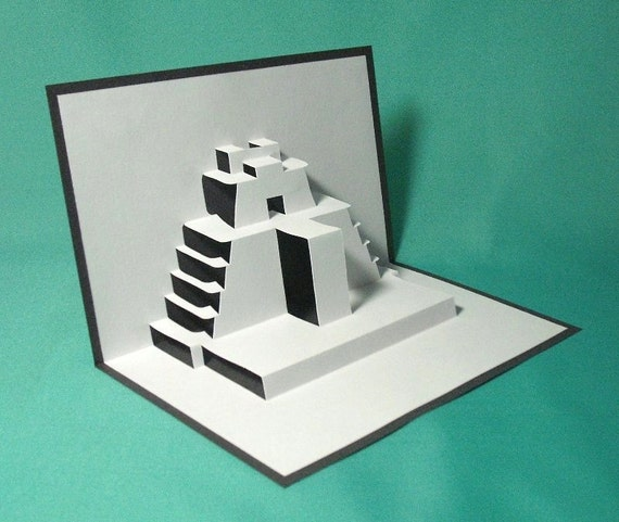 Pyramid of the Magician in Mexico Pop Up Card