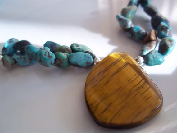 SALE Genuine Turquoise, Tigers Eye Pendant, Double Strand Necklace Southwestern Sterling Silver Tan Brown Women