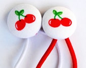 SALE - Red Cherries - Fabric button hair elastics - Set of 2.