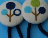 Japanese Cherry Tree - Navy - Fabric button hair elastics - Set of 2.