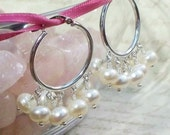 Sterling Silver White Pearl Hoop Earrings ER-119-WWS