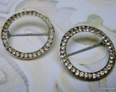 RESERVED 2 Vintage CORO Sterling Silver and Rhinestones Circle Pins or Brooches (TL)