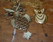 2 OWL Pendant Necklaces Goldtone and Enamel For Repurposing or Repair
