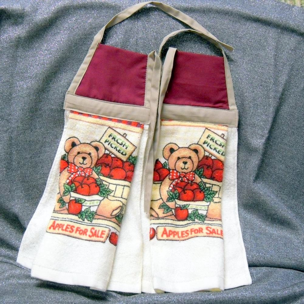 Red Kitchen Hand Towels: Hanging Kitchen Terry Hand Towels Tie Type Burgundy Red