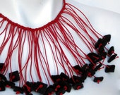 red and black necklace, felt necklace, felt jewellery, fringe necklace, ruby red,  spring fashion, winter fashion, red,