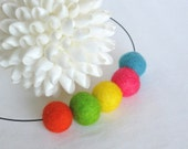 wool necklace, summer fashion,  felted jewelry, bright spring color, neon beads