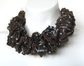 brown textile necklace, ruffle collar, winter fashion trend, shabby chic, bib necklace