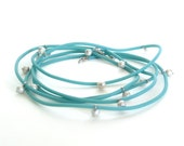 teal pearl necklace, modern pearl  jewelry,  freshwater pearl and rubber