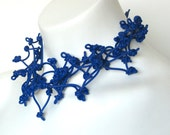 sapphire blue, modern rubber necklace,  arty jewelry