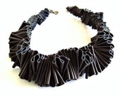 French roast brown ruffled collar, winter fashion, bib necklace, textile jewelry, avant garde design, haute couture, winter style
