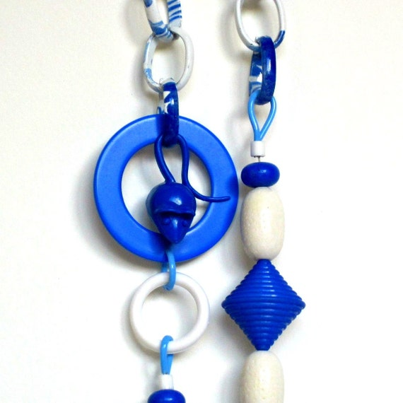 vintage lucite necklace, resin necklace, long necklace, blue fashion,  mouse necklace, statement necklace, OOAK, spring fashion
