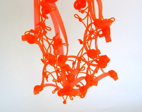 neon necklace,  tangerine orange, spring fashion, flame necklace, rubber jewellery, modern necklace, avant garde jewelry, neon jewelry