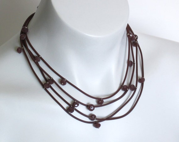 modern crystal necklace, understated elegance, casual style, french roast brown rubber jewellery, dark rose