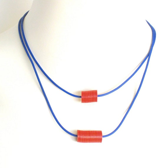 blue and red necklace, geometric minimalist jewelry,  edgy colorblock recycled plastic
