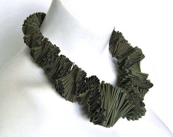 olive green bib necklace, ruffle collar, textile necklace, designer choker, haute couture,  neckpiece, statement necklace,