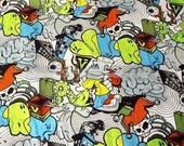 colourful skull fabric half yard many skulls