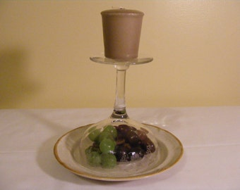 Glass Candle Holder, Grapes