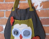 felted wool owl slouch bag