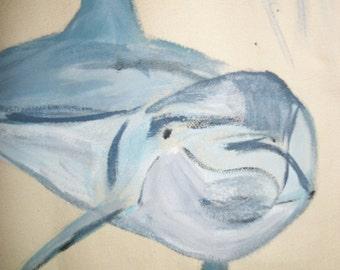 Dolphin Splash handpainted canvas tote