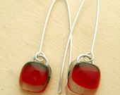 Poppy Red Long Drop Earrings