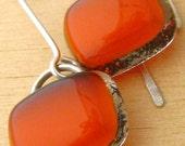 Fire Orange Long Drop Earrings